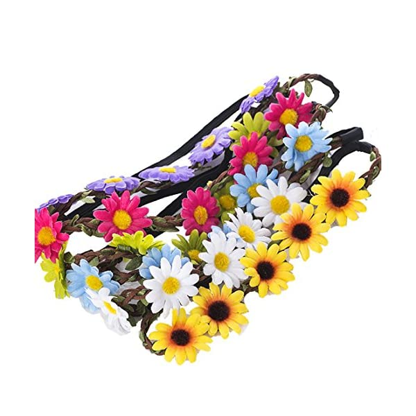 9 Pieces Flower Headband Garland - AWAYTR Bohemia Floral Crown for Women Girl Hair Accessories for Wedding Festival Party Multi Color 1