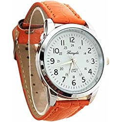 male Wrist Watch - Gerryda male Fashion digital Leather belt quartz Wrist Watch Orange