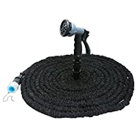 EbuyChX Expandable Garden Hose Water Pipe with 8 Modes Spray Gun BLACK 25FT