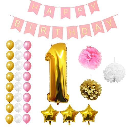 Luftballons u. Dekoration zum 1. Geburtstag von Belle Vous - 32-tlg. Set - Großer 1 Jahr Folienballon - 30,5cm Gold, Weiße u. Rosa Dekorative Latexballons - Dekor für Kleinkinder (Outdoor-party-ideen Für Erwachsene)