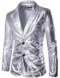 6bf65397b3065a Geilisungren Herren Slim Fit Sakko Blazer Anzug Jacke Zwei-Knopf Heißprägen  Reverskragen Anzugjacke Mantel Männer
