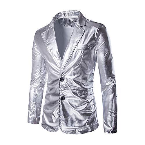 UJUNAOR Performance Blazer Herren Männerpersönlichkeit Heißprägung Cool Gold Kostüm Anzugjacke Mantel(Silber,EU M/CN L)