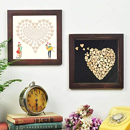 400 Pcs Mini Wooden Hearts KATOOM Wood Heart Embellishments Blank Mixed Wood Heart Slices Table Confetti Rustic Scatter for Wedding Party Decoration DIY Crafts Making