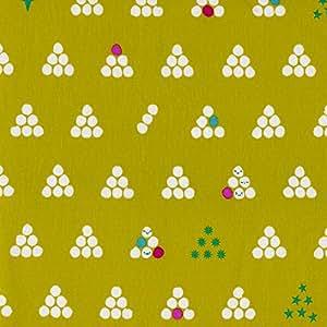Tissu vert citron cs039–Le Mochi Collection par Rashida coleman-hale pour boules de coton bleu + blanc–100% coton–0,5m–Acier Rose sur fond vert citron Tissu–100% coton