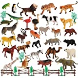KRP Enterprise Zoo Wild Animals Figures Set for Kids Built in Non-Toxic with Map- Pack of 20 Animals, Small (Multi Color)