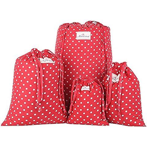 Neoviva Floral Tela cordón bolsa de almacenamiento para la colada, conjunto de 3en diferentes tamaños, tela, Polka Dots Red, 40(L)x30(W)x0.1(H)CM