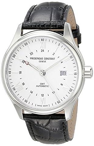 Frederique Constant pour homme 'Classics' Cadran Argent Bracelet cuir noir