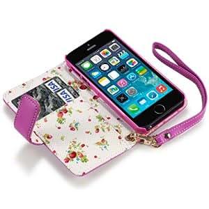 Flip Leder Handytasche Case Etui Hülle für Apple iPhone 5 Pink