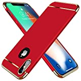 TORRAS Ultra Dünn Kompatibel mit iPhone XS Hülle/iPhone X Hülle 3 in 1 Design Kratzfest Matt Schutzhülle Hart Plastik Hybrid Case Slim Premium Hardcase Rückseite HandyHülle Cover- Rot