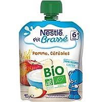Nestlé Bébé P'Tit Brassé Bio Céréales Pomme-Laitage dès 6 Mois-Gourde de 90 g -