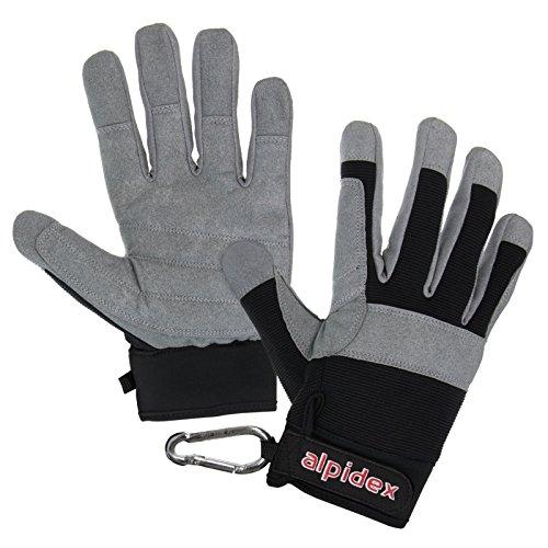 ALPIDEX Klettersteighandschuhe Rock Rattler Unisex Fullfinger Handschuhe Kletterhandschuhe Full Finger Gloves Via Ferrata alle Finger geschlossen, Größe:L, Farbe:Wild Black