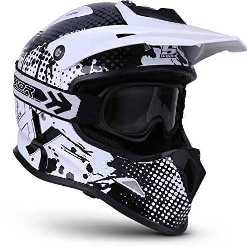 "Soxon® SKC-33 Set ""Fusion White"" · Kinder-Cross-Helm · Motorrad-Helm MX Cross-Helm MTB BMX Sport · ECE Schnellverschluss SlimShell Tasche S (53-54cm)"