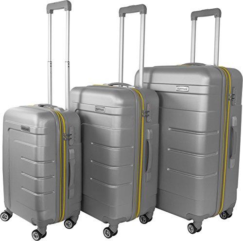 Hartschalen Kofferset New Generation mit TSA Zahlenschloss 3-tlg. Farbe Grau/Gelb