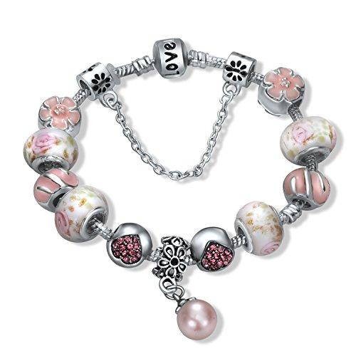 A TE® Bracciale Charms da donna e ragazza perlina di smalto colore rosa Regalo per Festa SKU:B31