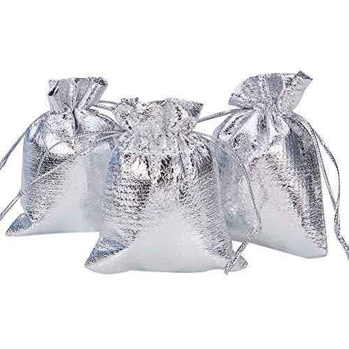 (NBEADS 100 Stücke Kleines Geschenk Taschen Candy Taschen Kordelzug Hochzeit Favor Bag Schmuckbeutel, Silber, 9x7 cm)