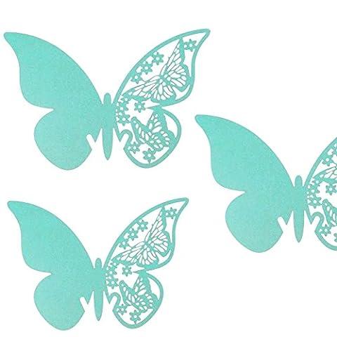JZK® 50 x Pearly papillon bleu numéro de table d'espace réservé aux détenteurs de place faveurs pour les marques de graduation de Noël marques de communion de baptême de naissance d'anniversaire de mariage de fête espaces réservés lieux de la
