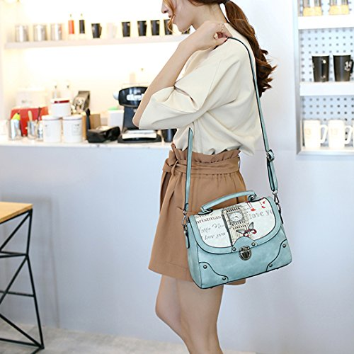 YYW Leather Handbags, Borsa a mano donna Blue