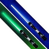 tevenger 2 x Laserschwert Lichtschwert Sound Licht Vibration 108 cm nach Wahl, Lichtschwert:blau / grün