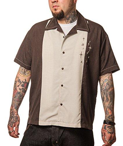 Steady Clothing Herren Vintage Bowling Hemd - Well Noted Bowling Shirt Braun XL