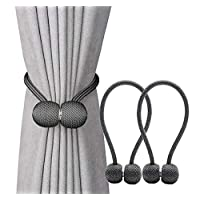 Jacalee Magnetic Curtain Tiebacks Decorative Rope Hold-backs Holder 1 Pair Grey 16 Inches