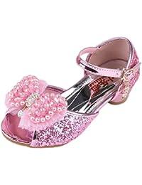 d44c485c1b3b1 Yy.f YYF Petite Fille Belle Sandale Chaussure de Princesse A Talon AVCE  Paillettes Faux