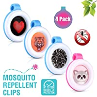 Premium Clip On Mosquito, Bug & Insect Repellent [4-Pack] | Super Cute, Safe & Effective Bug Repeller Clipons | Camping, Hiking, Indoor & Outdoor Protections for 1400 Hours | No Skin Contact