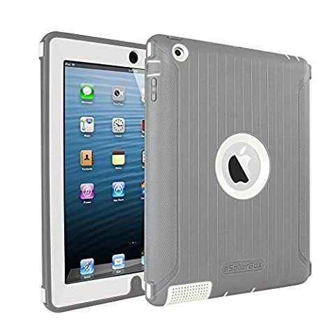 iPad 2 3 4 Case,by eSellerBox® Heavy Duty Full-body Rugged Armor Hybrid Multi-Layer Defense Protective With kickstand Holder Built-in Screen Protector Durable Case Cover apple iPad 2/3/4( Grey&White)