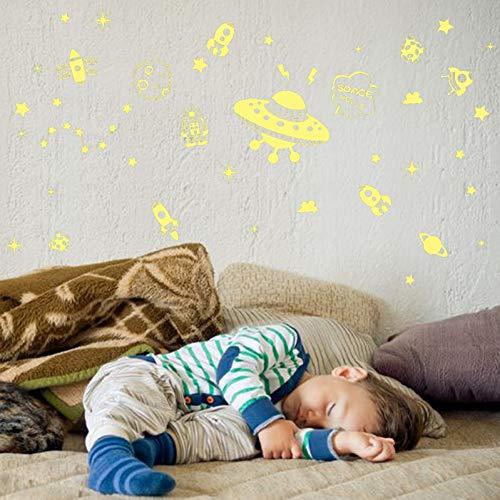 chtende Wandaufkleber Kinderzimmer Fluoreszierende Aufkleber Mode DIY Kunst Kombination Aufkleber Raumschiff 21 * 30 cm ()