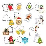 OCMCMO 14 Piezas Moldes para Galletas Navidad Moldes Acero Inoxidable Moldes Metal Acero Inoxidable Cortador de Galletas Navidad Cortadores Galletas
