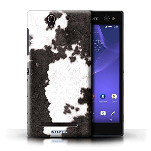Kobalt® Imprimé Etui / Coque pour Sony Xperia C3 / Léopard conception / Série Motif Fourrure Animale Vache/Noir