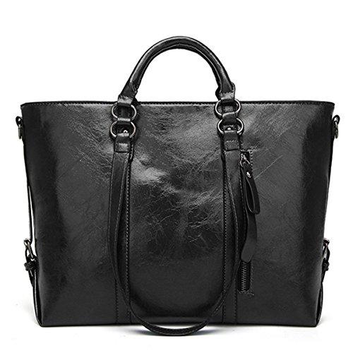 Handtaschen Damen,Charminer PU-LederUmhängetasche Schultertasche HenkeltascheShopping Bag Groß mitQuasten Für Freizeit/Schule/Büro Schwarz