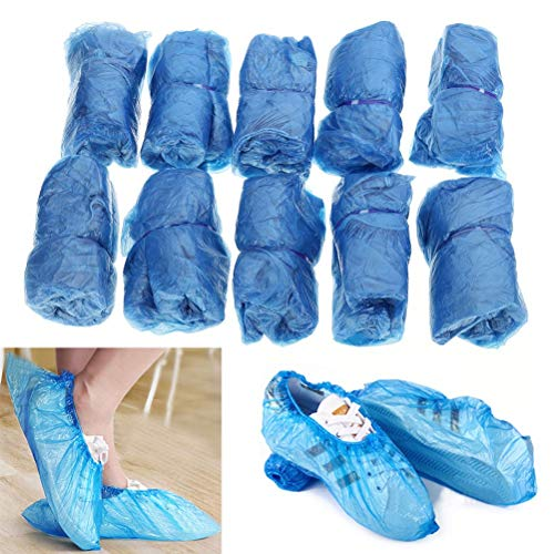 Boot Cover - 100 Pcs Pack Waterproof Boot Covers Plastic Disposable Shoe Overshoes Home Cleaning Medical - Eyeglasses Electronics Norwex Cloths Holder Lens Chemicals Eyeglass Reusable Black (Overshoe Boots)