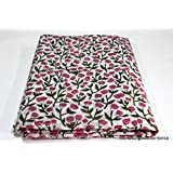 Worldoftextile 2.5 Meter 100% Pure Cotton Fabric Indian Handmade Block Printed Garment Fabric