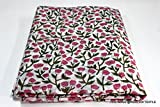 #10: Worldoftextile 2.5 Meter 100% Pure Cotton Fabric Indian Handmade Block Printed Garment Fabric