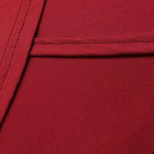 Dihope Femme Printemps Automne T-shirt Asymétrique Manches Longues Tee-shirt Casual Haut Top Loisir Mode Rayures Patchwork Rouge