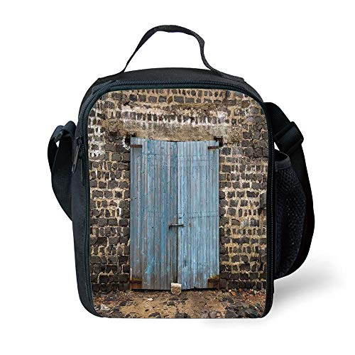 ZKHTO School Supplies Rustic Decor,Stone Wall of Dated Colored Closed Barn Gothic Medieval European Urban City Town Scenery,Blue Grey for Girls or Boys Washable