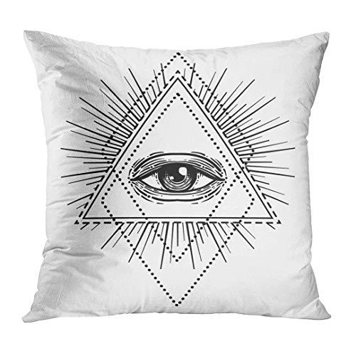 vbndfghjd Throw Pillow Cover Blackwork Tattoo Flash Eye of Providence Masonic Symbol All Seeing Inside Triangle Pyramid New World Decorative Pillow Case Home Decor Square 18x18 Inches Pillowcase (Art Halloween Tattoo Flash)