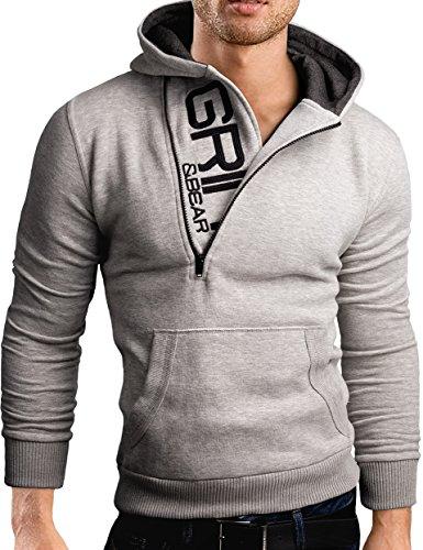 Grin&Bear Slim fit Halfzip Jacke Kapuze Hoodie Sweatshirt Kapuzenpullover, grau meliert, L, GEC401