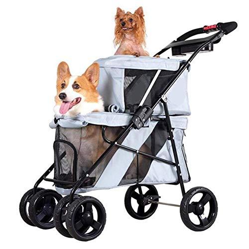 WLDOCA Falten Ultralight Dual Layers Hundebug Hundebuggy Buggy Für 15Kg Und 6,5Kg Hunde Katzen/Mit Großen Vision Skylight Dual 6.5