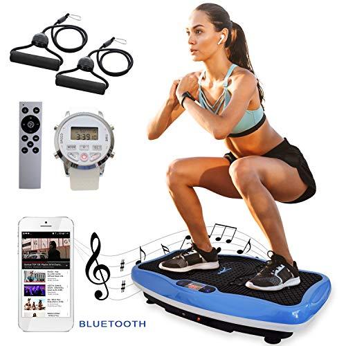 XPLON VPM020 Vibrationsplatte Vibration Platte inkl. Zugbänder Trainingsbänder 99 Stuffen USB Bluetooth Musik 200 Watt