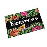 Yililay Bienvenue Bodenmatte mit bunten Blumen und Blätter Französisch Wort Anti-Rutsch-dämpfende Gummi Fußmatte für Küche Badezimmer Wohnzimmer Eintrag Schwarz 40 * 60CM (willkommen)