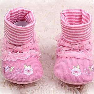Froomer Botas Chicas Zapatos Encaje Flor Suave con Suele Zapato Infantil Preandador Primeros Pasos en BebeHogar.com