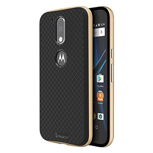iPaky Hybrid Ultra Thin Shockproof Back + Bumper Case Cover for MOTO G4 PLUS (Moto G Plus, 4th Gen) - Gold
