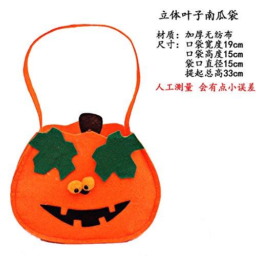 Requisiten Spielzeug getarnt als Zubehör zellulären Kürbis Beutel Geschenkbeutel Bonbontüte Stoffbeutel Blätter (Kinder-halloween-aktivitäten Blatt)