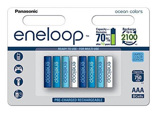 Panasonic eneloop BK-4MCCE/8SE AAA Ready to Use, Micro Ni-MH (Confezione da 8, 750mAh, 2100cicli di ricarica) multicolore