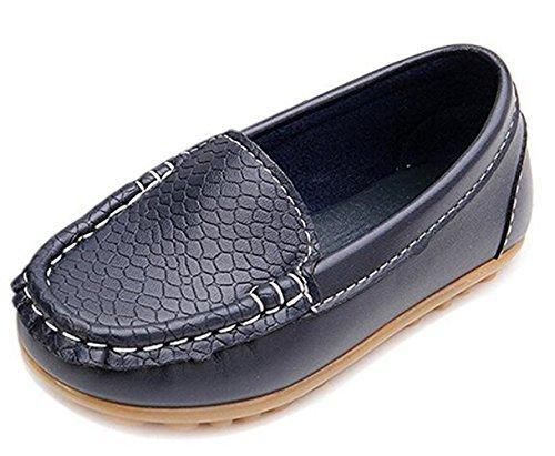 DADAWEN Boy's Girl's Slip-on Loafers Oxford Shoes Dark Blue UK Size 8