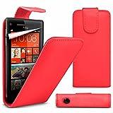 VCOMP® Housse Coque Etui rabattable en simili cuir pour HTC Windows Phone 8S - ROUGE