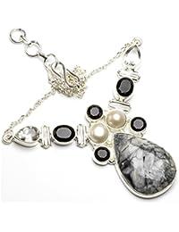 """stargems (TM) Natural Jasper, Río Perla, Negro Onyx y blanco topacio diseño único 925plata de ley Collar 18"""""""