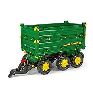 Rolly Toys 125043 rollyMulti Trailer John Deere | Anhänger in 3 Richtungen kippbar | Kippanhänger mit Gewindekurbe und Heckkupplung | ab 3 Jahren | Farbe grün/gelb