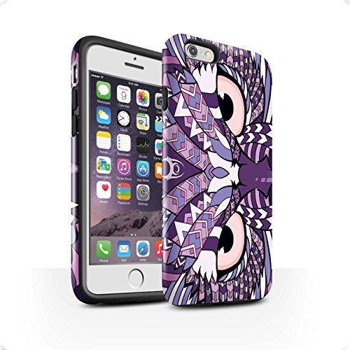STUFF4 Glanz Harten Stoßfest Hülle / Case für Apple iPhone SE / Elefant-Grün Muster / Aztec Tier Muster Kollektion Eule-Lila
